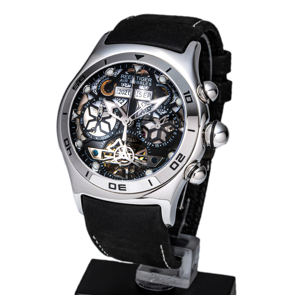【REEF TIGER】幻想的な球面ガラス 自動巻式スケルトン腕時計 リーフタイガーRGA703YBB シルバー