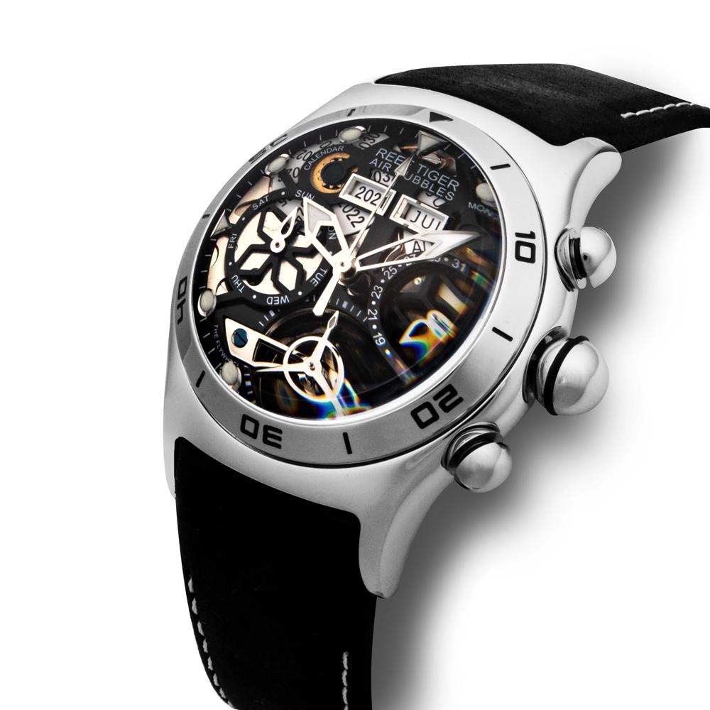 REEF TIGER 球面スケルトン腕時計 RGA703YBB 自動巻き シルバー