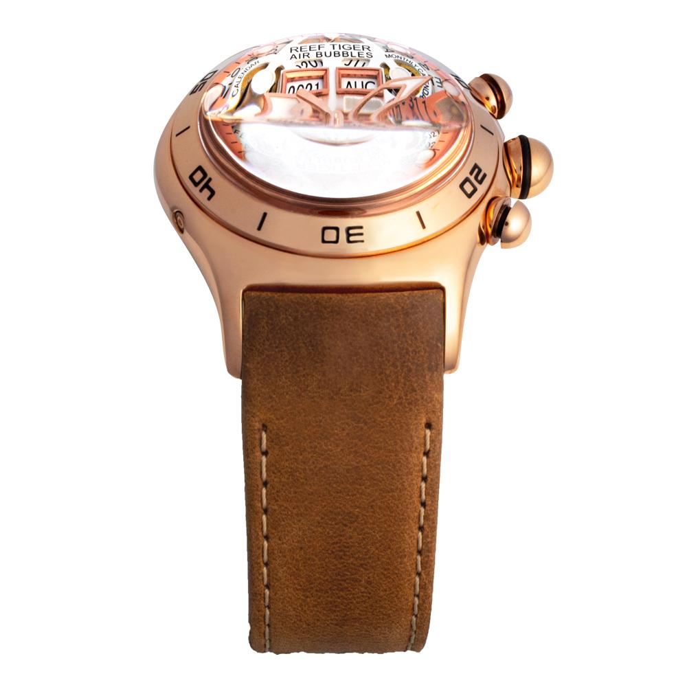 REEF TIGER 球面スケルトン腕時計 RGA703PWS 自動巻き ピンクゴールド