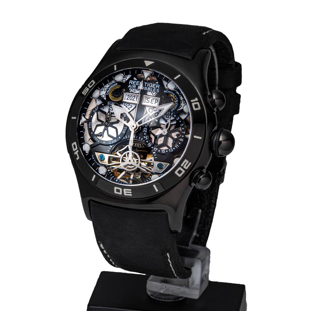 REEF TIGER 球面スケルトン腕時計 RGA703BBB 自動巻き ブラック