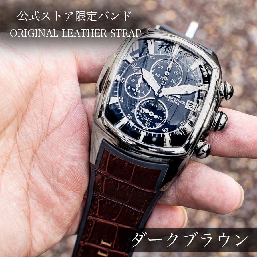 大きいサイズの腕時計 クロノグラフ搭載 REEF TIGER【RGA3069-T-YBB】シルバー / ブラックフェイス