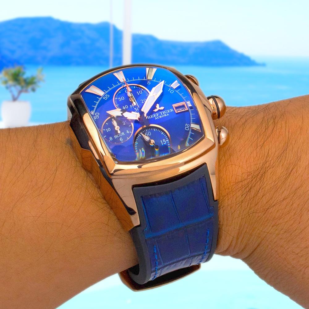 大きいサイズの腕時計 クロノグラフ搭載 REEF TIGER 【RGA3069-T-PLB】ピンクゴールド / ブルーフェイス