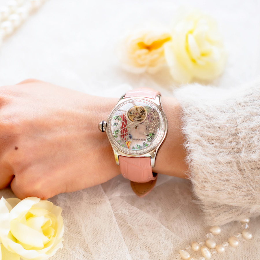 REEF TIGER 【 RGA7105-YPP】 バードダイヤル 球面ガラスのレディース腕時計 自動巻き式