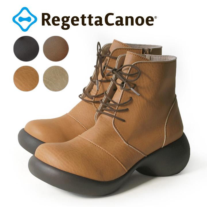 リゲッタカヌー RegettaCanoe CJES-6135 エッグヒール レースアップ ショートブーツ レディース 紐靴 厚底 歩きやすい 履きやすい オシャレ