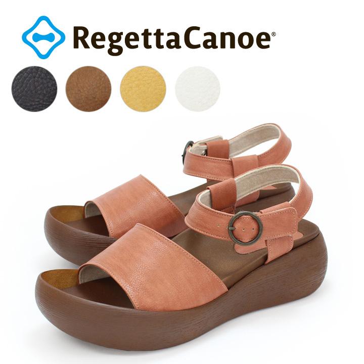 RegettaCanoe -リゲッタカヌー- CJBH-3006 厚底 サンダル アンクルベルト ストラップ ウッドソール 木目調  履きやすい 歩きやすい レディース つっかけ バルキーヒール