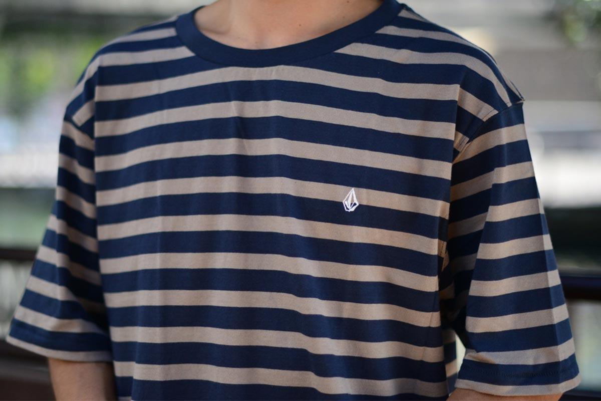 VOLCOM ボルコム メンズ モダンフィットボーダーTシャツ 半袖 A0132103 Halfax Stripe Crew [NVY]