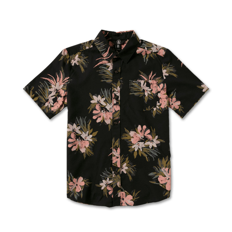 VOLCOM ボルコム ボーイズ(8-14才) 半袖シャツ C0412112 Floral With Cheese S/S Youth [BLK]