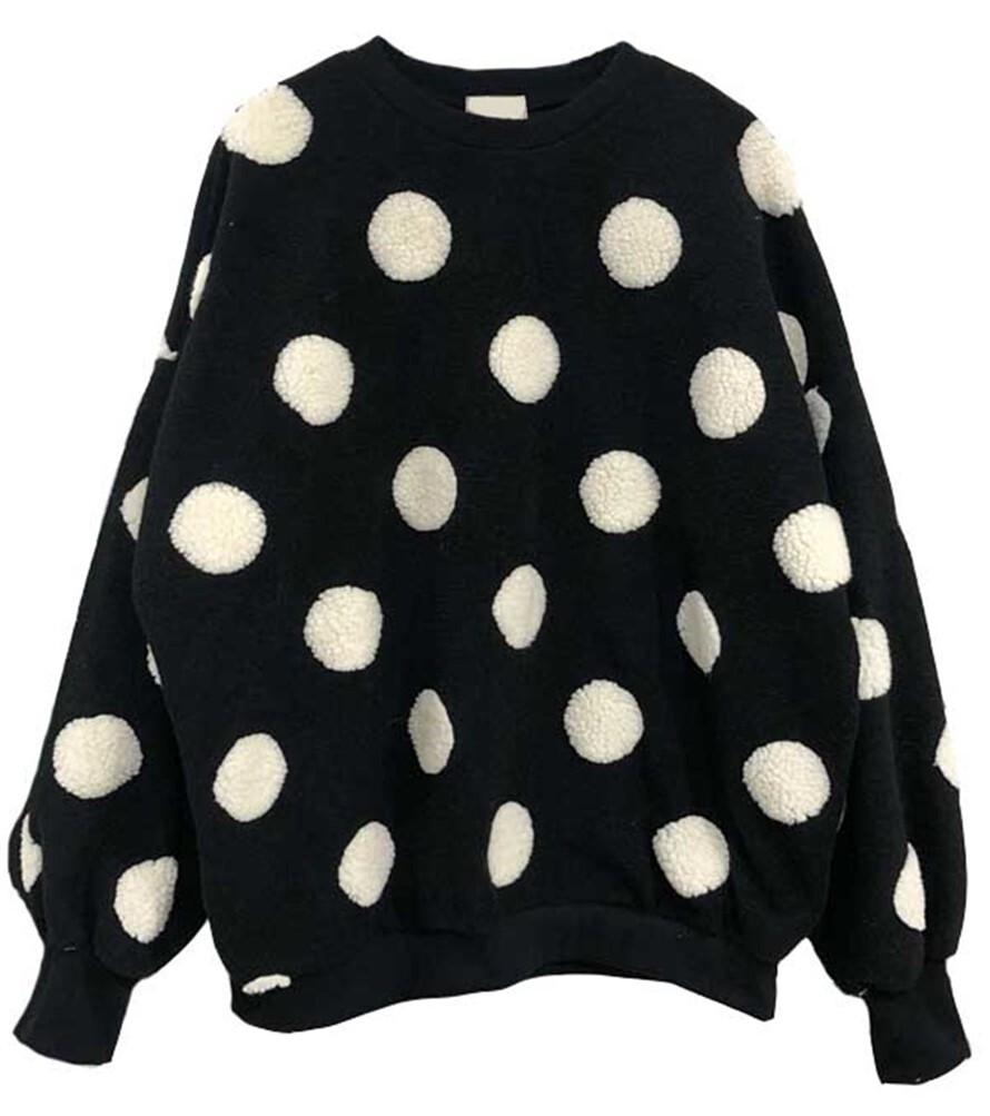 もこもこトップス セーター ニット ボアプルオーバー レディース 長袖 ドット 水玉 おしゃれ 大人可愛い ショッピング デート 女子ウケ RE03324