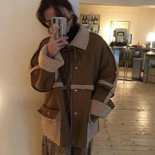 ボアブルゾン レディース ボア アウター ジャケット コート リバーシブルボアジャケット もこもこ かわいい 秋冬 韓国 オルチャン