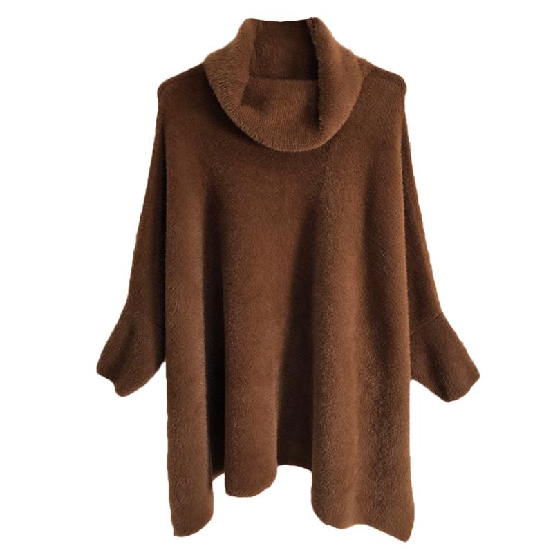 トップス ニット セーター レディース ハイネック ポンチョ風 無地 長袖 オーバーサイズ 秋冬 ゆったり シンプル