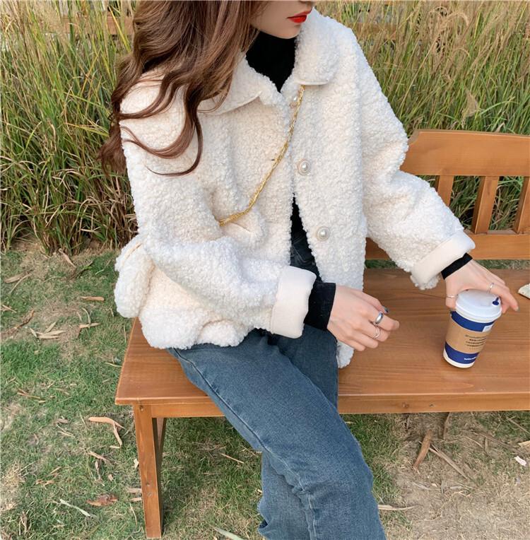 アウター ボアジャケット コート ボア ショート丈 無地 パールボタン かわいい フェミニン 秋冬