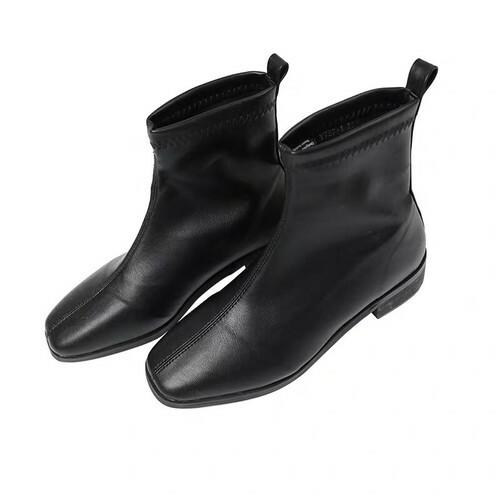 ブーツ レディース ショート 黒 かわいい 韓国 シンプル ショートブーツ おしゃれ