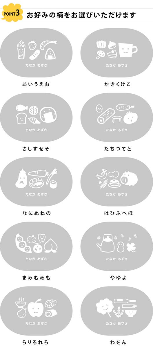 こどもと暮らしオリジナル 名入れお弁当箱 たべもじシリーズ(内フタ付)
