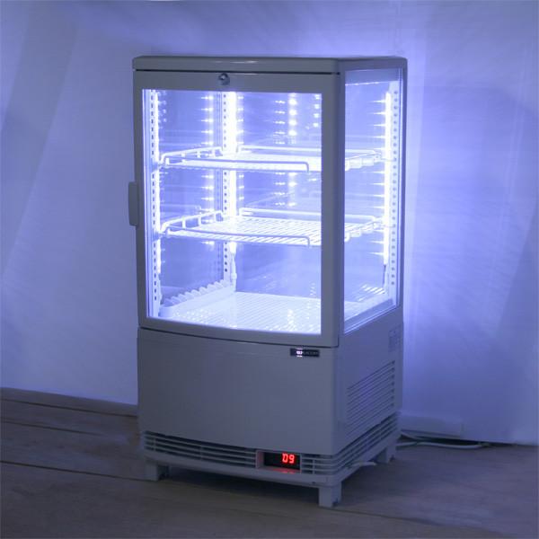 4面ガラス冷蔵ショーケース LED仕様 63L 3段(中棚2段) ノンフロン +2〜+12℃ RCS-4G63SL 送料無料・1年保証