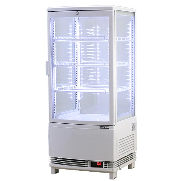 4面ガラス冷蔵ショーケース、LED仕様 84リットルタイプ