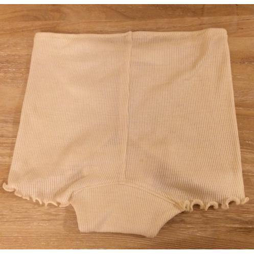 絹糸紡シルク 1分丈ショーツ〇足回りメローミシン仕上げ〇月白(染なし)