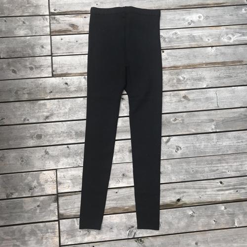 絹糸紡 シルク シルクリブ極厚レギンス(ブラック)  【送料無料・ネコポス不可】