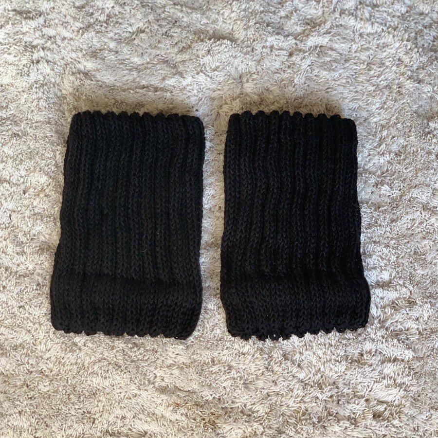 絹糸紡シルクコットン レッグウォーマーブラック15cm 【ネコポス可】