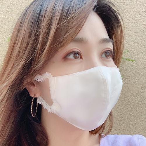 【即納】国産シルク 立体マスク 染めなし 月白 涼しい 蒸れない 【ネコポス可】
