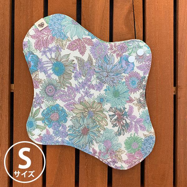 布ナプキン[軽い日・普通の用] 可愛い花柄ホルダーSサイズ 防水あり 肌面オーガニックリネン 美しい花々ブルーパープル【ネコポス可】