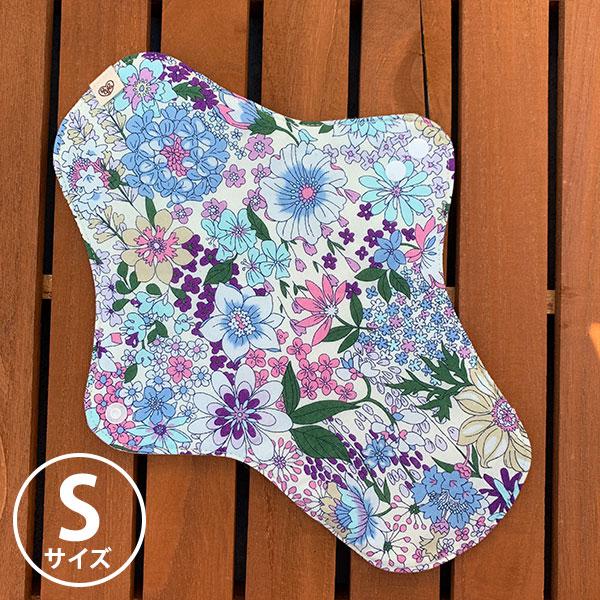 布ナプキン[軽い日・普通の用] 可愛い花柄ホルダーSサイズ 防水あり 肌面オーガニックリネン 艶やかな花々ブルーピンク【ネコポス可】