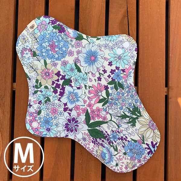 布ナプキン[普通の日・多い日用] 可愛い花柄ホルダーMサイズ 防水あり 肌面オーガニックリネン 艶やかな花々ブルーピンク【ネコポス可】