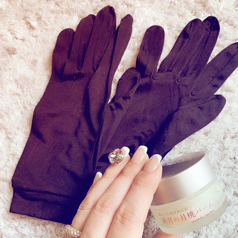 絹糸紡 シルクでツルツルおやすみ手袋 【ネコポス可】