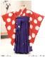 3歳 女の子 七五三 袴レンタル h3907 女の子 七五三着物レンタル 2021 貸衣装 3才 753 結婚式 モダン おしゃれ 子供着物 人気 かわいい水玉レッド×紫花袴