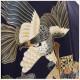 5歳 男の子 正絹 着物レンタル 七五三 d4183-2 袴レンタル 753 「100cm〜110cm」 フルセット 卒園式 4歳 5才 七草祝い 貸衣装 羽織 人気 レトロ モダン かっこいい 子供着物 「高級正絹着物」 紺地に吉祥扇と飛翔鷹
