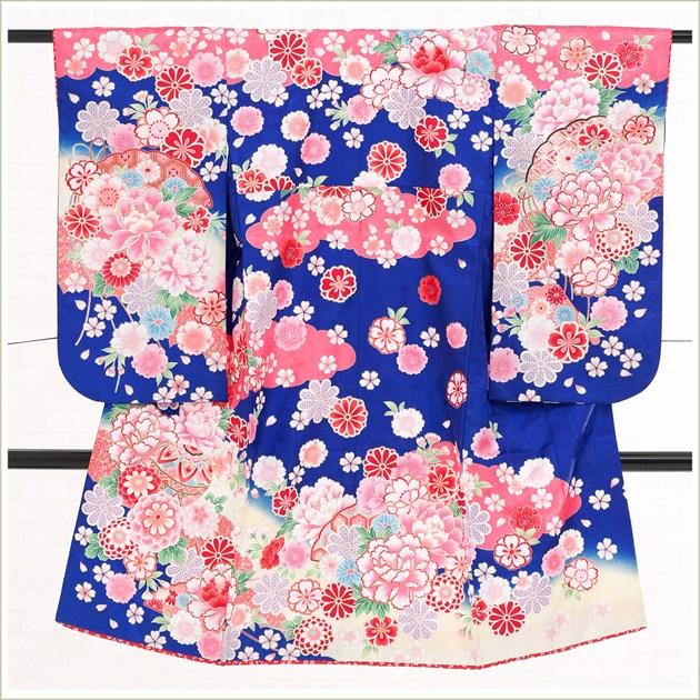 5歳女の子(小さめ7歳)七五三レンタル j5035 5歳七五三 フルセット 753 子供着物 2020 貸衣装 6歳 七歳 発表会 結婚式 人気 七草祝い「青×ピンクに絢爛麗しの祝彩華」