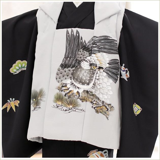 七五三 3歳 男の子 正絹 着物レンタル df023 被布セット 2020 子供着物 753 貸衣装 イベント 結婚式人気 男 初詣 かわいい かっこいい 「高級正絹着物」 黒地に吉祥スタイル縁起飛翔鷹