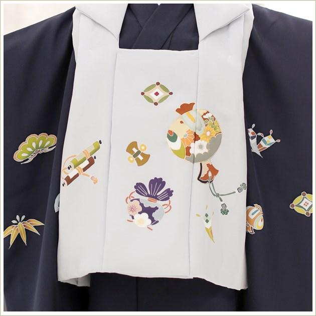 七五三 3歳 男の子 正絹 着物レンタル df024 被布セット 子供着物 753 貸衣装 イベント 結婚式人気 2020 男 初詣 かわいい かっこいい 「高級正絹着物」 紺地に吉祥スタイル縁起小槌