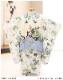 七五三 3歳 男の子 着物レンタル df047 被布セット 子供着物 753 貸衣装 2021 イベント 結婚式 三歳 人気 男 初詣 誕生日 かわいい 「花うさぎ」白地に古典吉祥龍兜