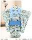 七五三 3歳 男の子 着物レンタル df048 被布セット 子供着物 753 貸衣装 2021 イベント 結婚式 三歳 人気 男 初詣 誕生日 かわいい 「花うさぎ」水色市松に慶び飛翔鷹