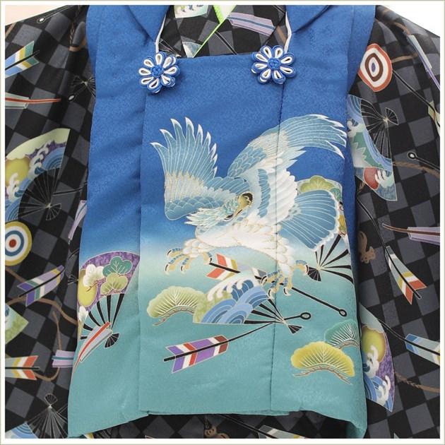 七五三 3歳 男の子 着物レンタル df049 被布セット 子供着物 753 貸衣装 2021 イベント 結婚式 三歳 人気 男 初詣 誕生日 かわいい 「花うさぎ」 黒地市松に慶び飛翔鷹