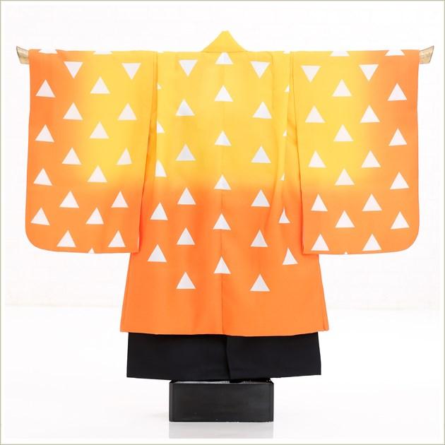七五三 5歳 男の子 鬼滅の刃 着物レンタル d5393 袴レンタル ぜんいつ 753フルセット 貸衣装 卒園式 子供着物 2020 七草祝い オレンジぼかし鱗模様