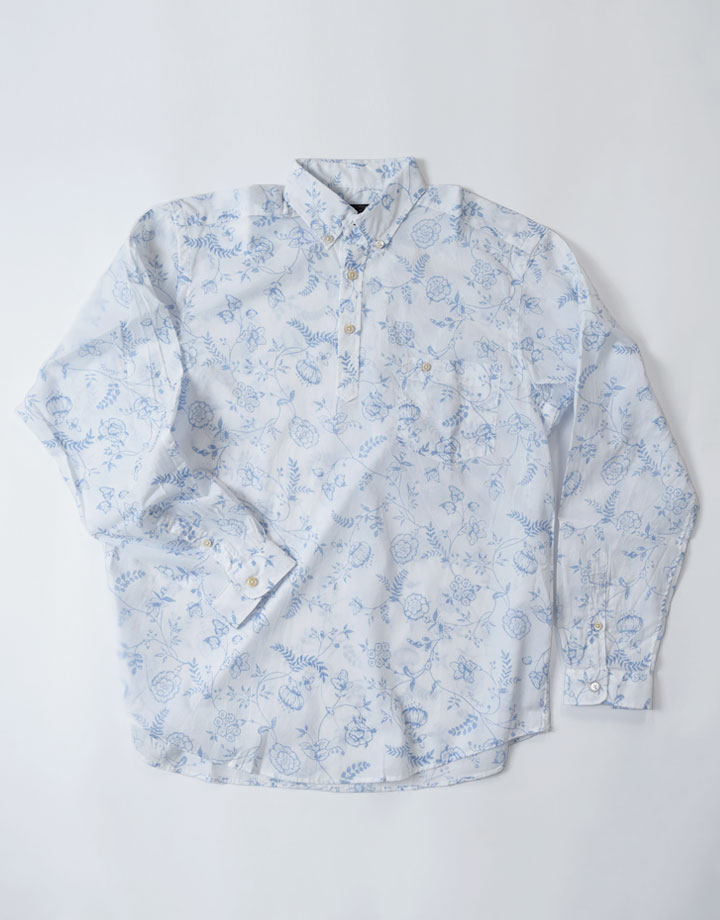 更紗柄プリント POシャツ