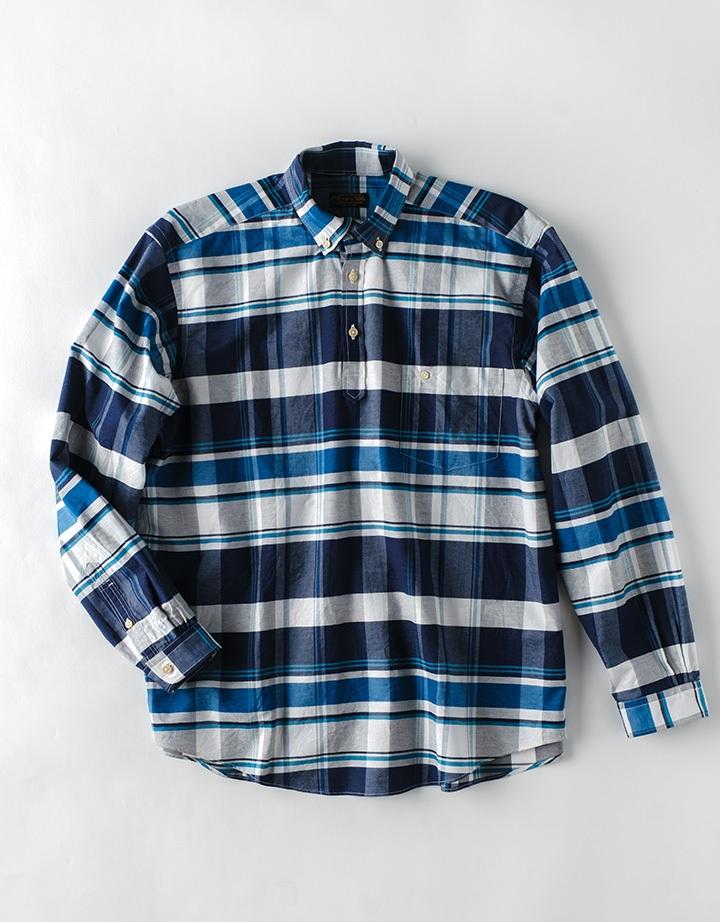 ネイビー系チェック POシャツ