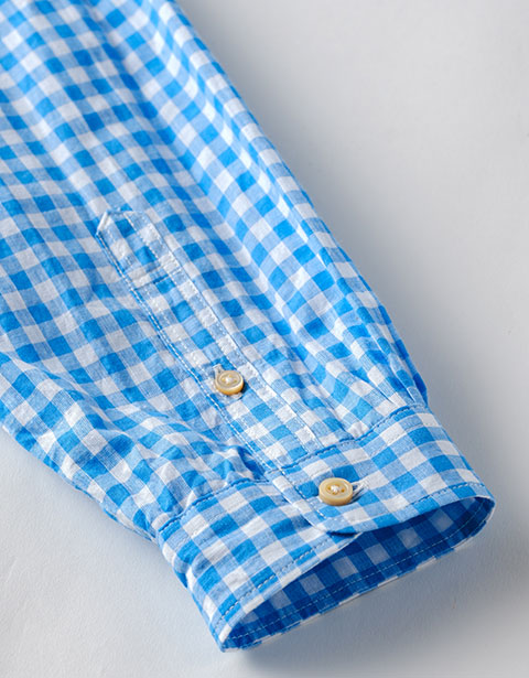 綿麻ギンガム POシャツ