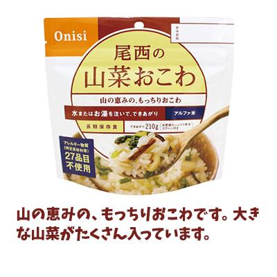 非常食セット 防災食 アルファ米 48食セット[12種類×各4袋] 尾西食品 送料無料 たけのこ