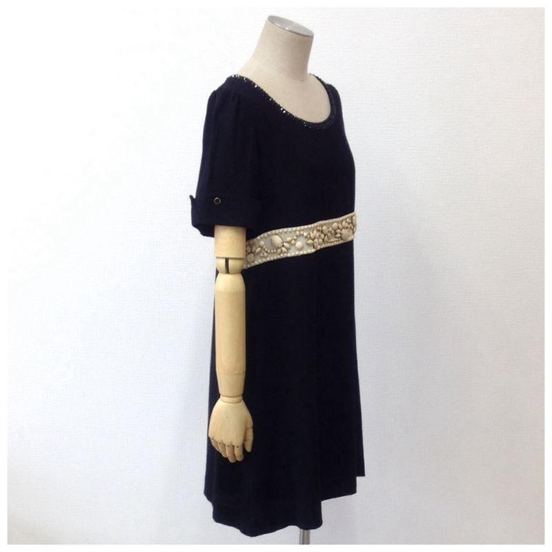 【中古】グレースコンチネンタル レディース ビシューワンピース ドレス 半袖 ブラック サイズ36