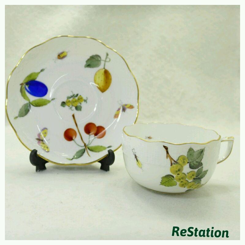 【中古】ヘレンドカップ&ソーサーフルーツdセットFR724-0-00