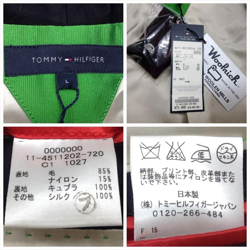 【中古】トミーヒルフィガー メンズ チェックテラードジャケット ウール ボルドー×ブラック サイズL