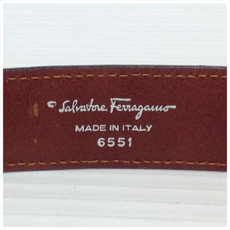 【中古】サルヴァトーレフェラガモ レディース ベルト レザー ヴァラ 6551 ダークブラウン サイズ65cm