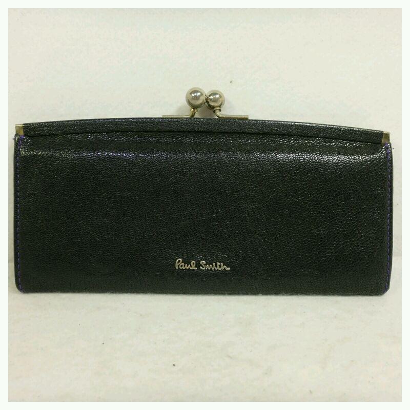 【中古】ポールスミス 財布 長財布 がま口財布 黒 レザー PWW905-10【送料無料】
