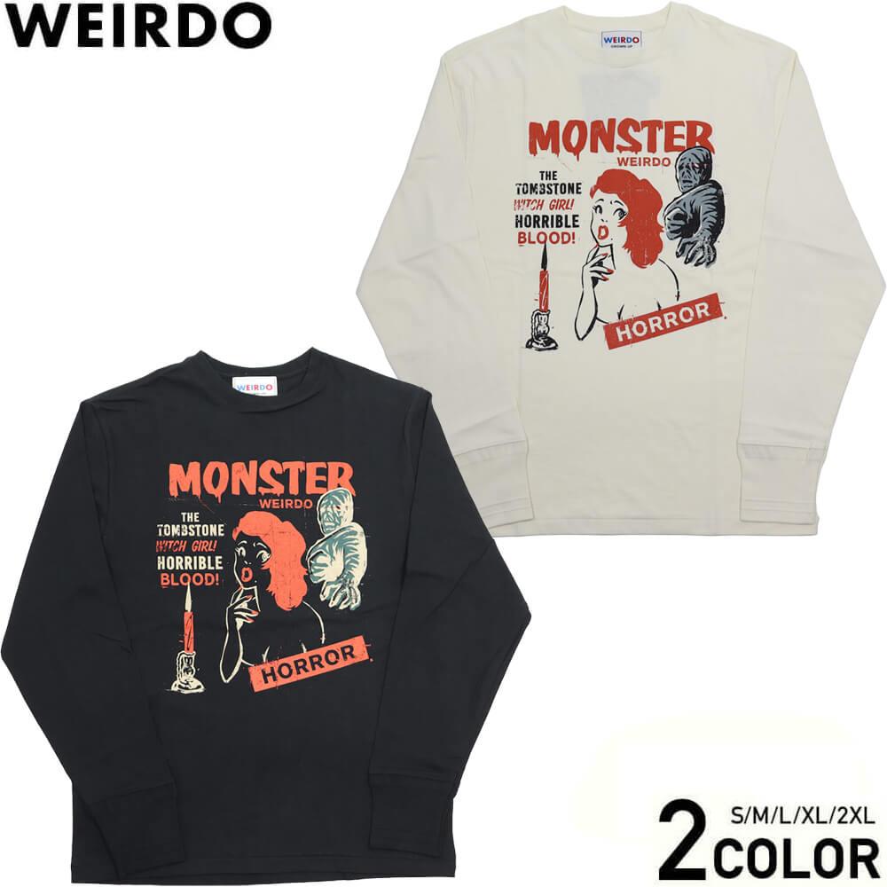ウィアード クルーネック 長袖 Tシャツ ロンT メンズ WEIRDO MONSTER ISLAND - L/S T-SHIRTS GLADHAND グラッドハンド GANGSTERVILLE ギャングスタービル OLD CROW オールドクロウ