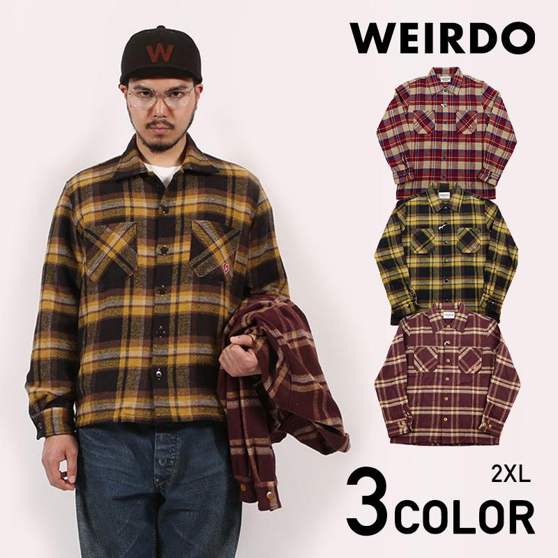 2XL:WEIRDO HEART OF WEIRDO - L/S CHECK SHIRTS
