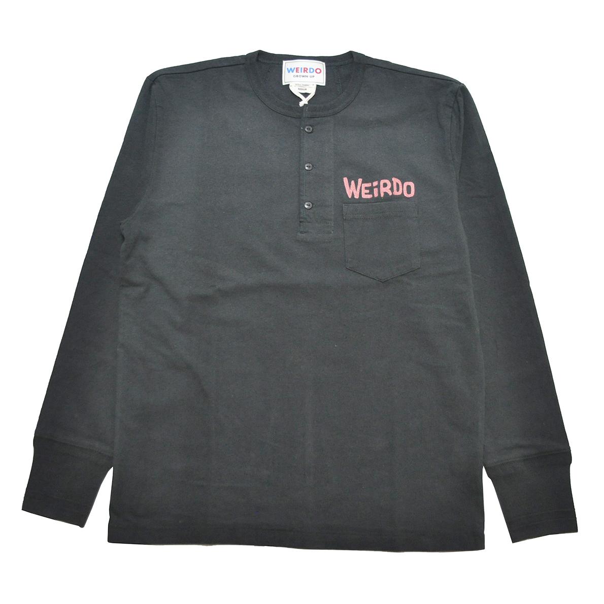 セール 40% OFF SALE WEIRDO MONSTERS - L/S HENRY POCKET T-SHIRTS (BLACK × RED)