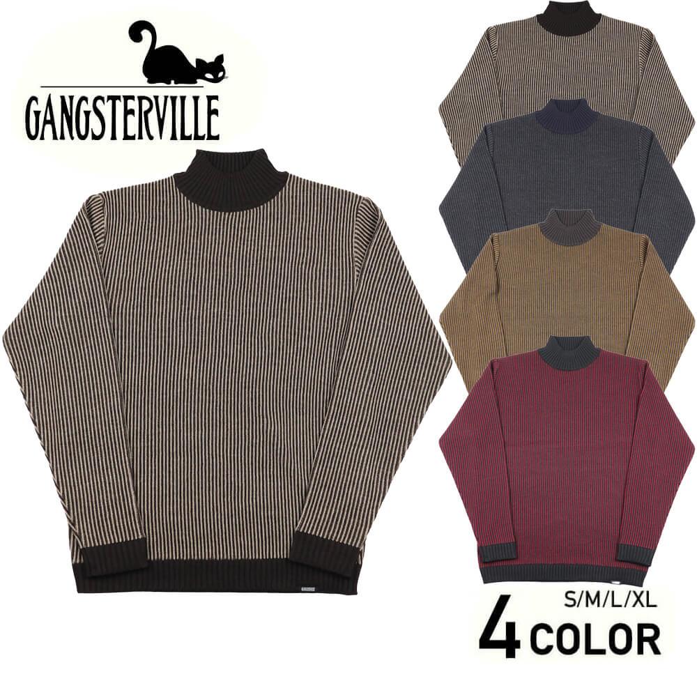 ギャングスタービル ストライプ モックネック セーター メンズ GANGSTERVILLE STRIPE - MOCKNECK SWEATER GLADHAND グラッドハンド WEIRDO ウィアード OLD CROW オールドクロウ