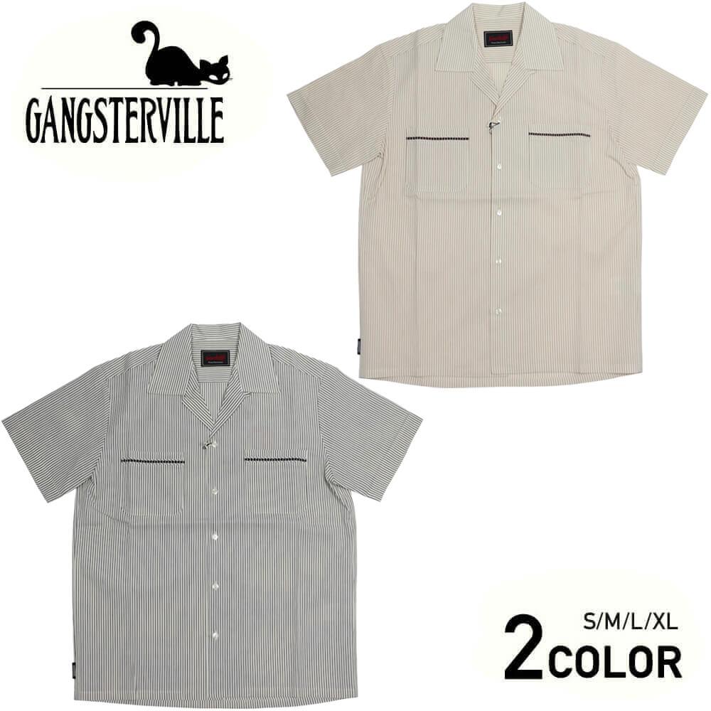 ギャングスタービル 半袖 シャツ メンズ ストライプ GANGSTERVILLE ROOSTER - S/S STRIPE SHIRTS GLADHAND グラッドハンド WEIRDO ウィアード OLD CROW オールドクロウ